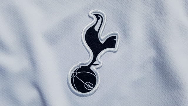 the tottenham hotspur fc club crest on their home shirt on may 18, 2020 in manchester, england. - all shirts stock videos & royalty-free footage
