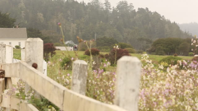 The town of Mendocino on a cloudy day with cars and people walking around the town.