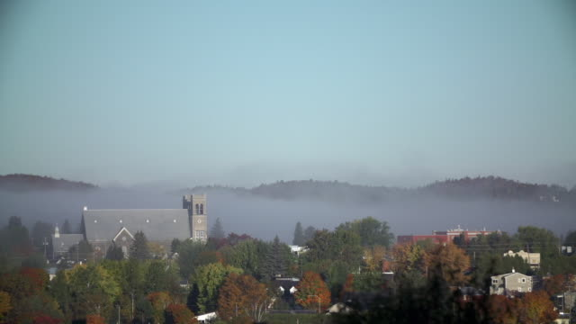 the town of sainte-agathe-des-monts on a foggy autumn morning - quebec stock videos & royalty-free footage