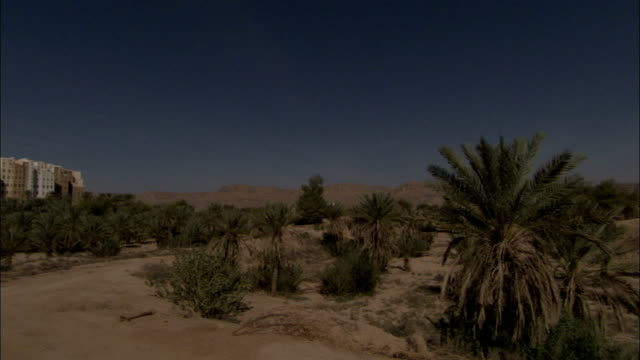 The town of Shibam stands out in the desert.