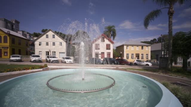 the town square and fountain in antônio prado, southern brazil. - リオグランデドスル州点の映像素材/bロール