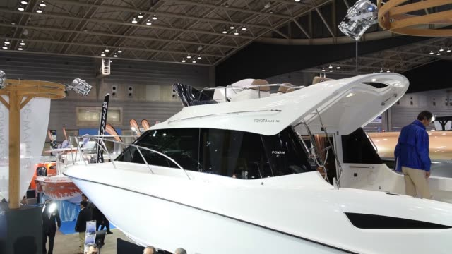 The Toyota Motor Corp PONAM31 boat is seen during the Japan International Boat Show in Yokohama Japan on Thursday March 8 the Toyota Motor Corp...