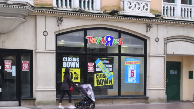 The Toys R Us store on Queen Street in Cardiff Wales UK which is one of 100 to close after the chain retailer failed to find a buyer after going into...