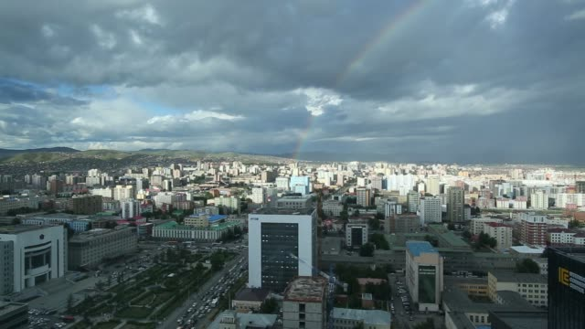 vídeos de stock e filmes b-roll de the trade and development bank of mongolia llc building front center stands near commercial and residential buildings stand in ulaanbaatar mongolia... - ulan bator
