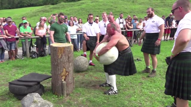 the traditional highland games held as a way to celebrate scottish culture have supporters in germany too - highland games stock videos & royalty-free footage