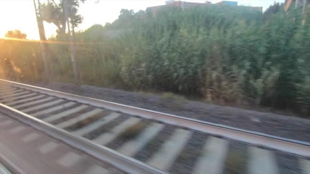 the train tracks near rome, italy, europe. - slow motion - stazione ferroviaria video stock e b–roll