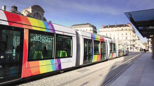 the tram system in angers, maine-et-loire, pays de la loire, france, europe - tram stock videos & royalty-free footage