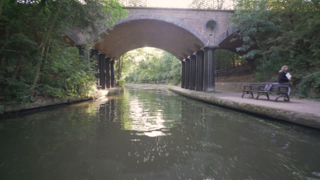 the tranquil veiw from a narrow boat as it passes through regents park - canal stock videos & royalty-free footage