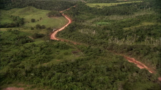 The Trans-Amazonian Highway winds through the Amazon Rainforest. Available in HD.
