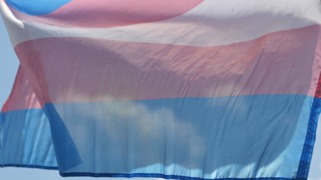 the transgender rights flag flies in the wind at the transgender support table during spencer pride, saturday, june 3, 2017 in spencer, indiana. the... - month stock videos & royalty-free footage