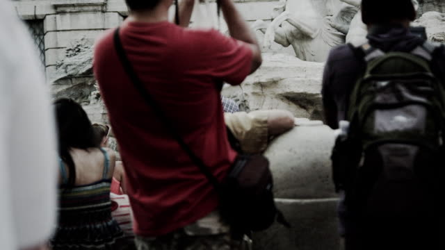 the trevi fountain with tourists in front - female likeness stock videos & royalty-free footage