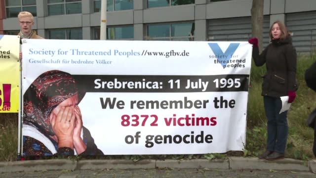 the trial of the butcher of bosnia ratko mladic opens at the international criminal tribunal for the former yugoslavia in the hague where some... - ratko mladic stock videos & royalty-free footage