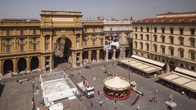The triumphal arch in Piazza della Repubblica, Florence, Italy.