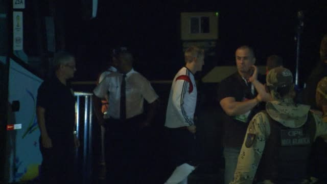 the triumphant german team return to their training camp after their semi final victory - porto seguro stock videos & royalty-free footage