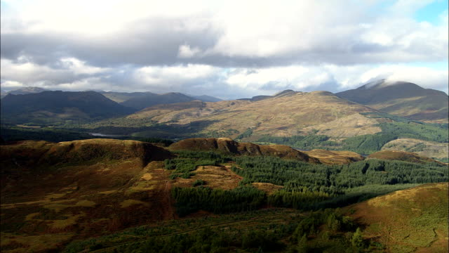 the trossachs  - aerial view - scotland, stirling, united kingdom - stirling stock videos and b-roll footage
