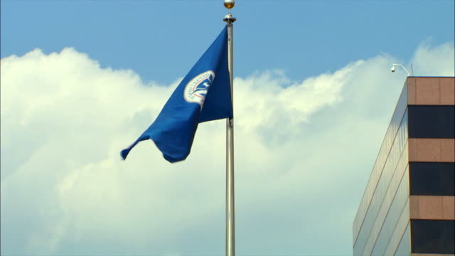 The TSA flag moves in the wind outside the Transportation Security Administration headquarter buildings in Arlington, Virginia.