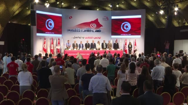 the tunisian electoral commission announces during a press conference in tunis that voters gave conservative political outsider kais saied a sweeping... - tunis stock videos & royalty-free footage