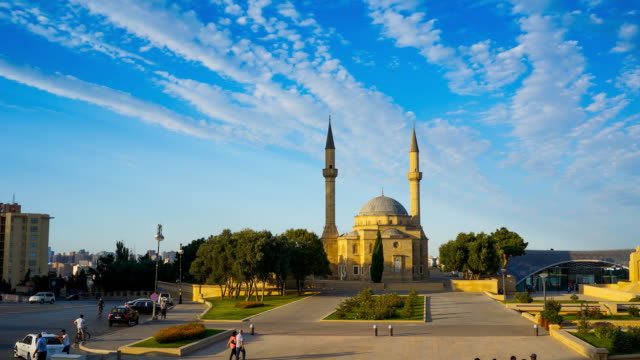 tl the turkey mosque / azerbaijan, baku - baku video stock e b–roll