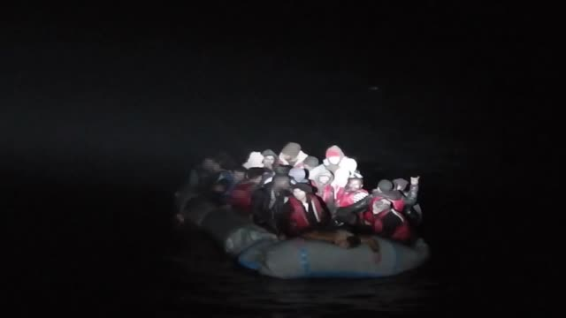 The Turkish Coast Guard rescued 41 undocumented migrants when an inflatable boat carrying them was at risk of drowning in the Aegean Sea near Foca...