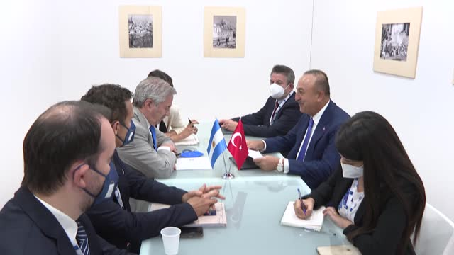 the turkish foreign minister on tuesday called for global cooperation on covid-19 vaccines, as he attended the g20 foreign and development ministers'... - organised group stock videos & royalty-free footage