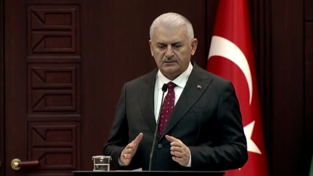 the turkish prime minister said wednesday that 214 targets were hit and destroyed in total as part of operation olive branch in syria's afrin area... - türkischer premierminister stock-videos und b-roll-filmmaterial