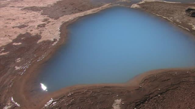 vídeos de stock, filmes e b-roll de the turquoise water of blesi geyser. - islândia central