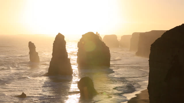 the twelve apostles on great ocean road, victoria, australia - great ocean road stock videos & royalty-free footage