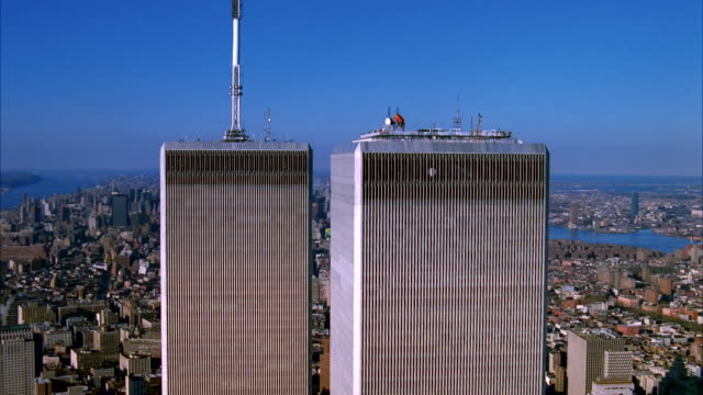 the twin towers of the world trade center, new york available in hd. - world trade centre manhattan stock videos and b-roll footage