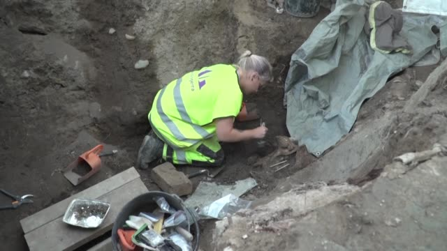 the two viking boat burials discovered outside the town of uppsala in sweden last autumn are carefully excavated by archaeologists - scandinavia stock videos & royalty-free footage