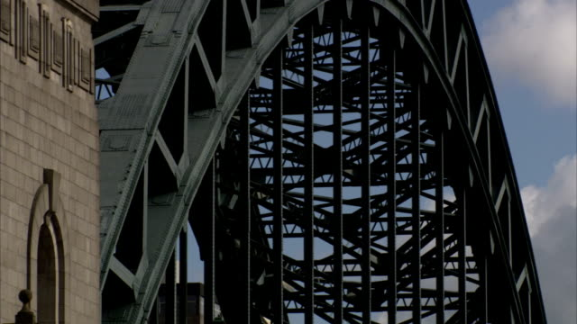 the tyne bridge arcs above the river tyne in newcastle-upon-tyne. available in hd. - tyne bridge stock videos & royalty-free footage