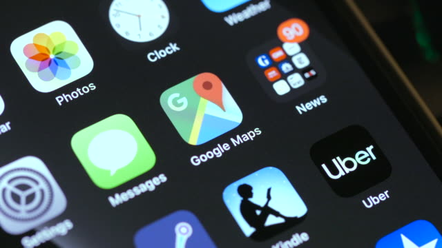 the uber app is seen on an iphone on january 15 2020 in warsaw poland - notifications stock videos & royalty-free footage