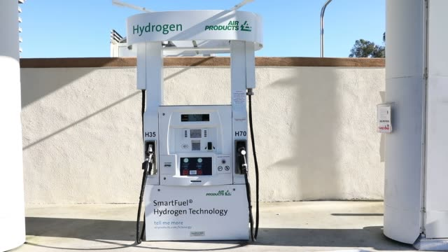 The UC Irvine Hydrogen Fueling Station stands in Irvine California US on Saturday February 4 2017 Shots shot of refueling process / CU of numbers...