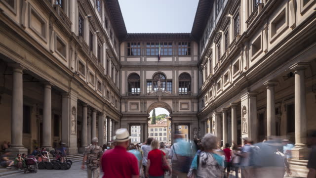 The Uffizi Gallery in Florence, Italy. Dating from 1560, the building now houses some of the oldest and most famous art museum's of Europe.