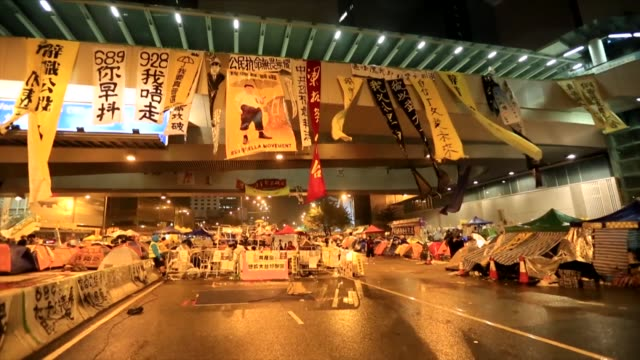 the umbrella revolution protest in hong kong - 2014 stock videos and b-roll footage