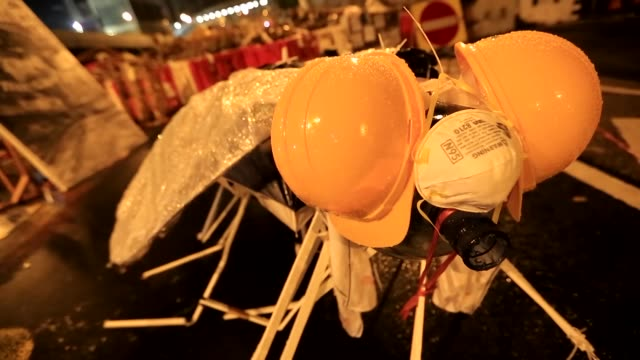 the umbrella revolution protest in hong kong - sculpture stock videos & royalty-free footage