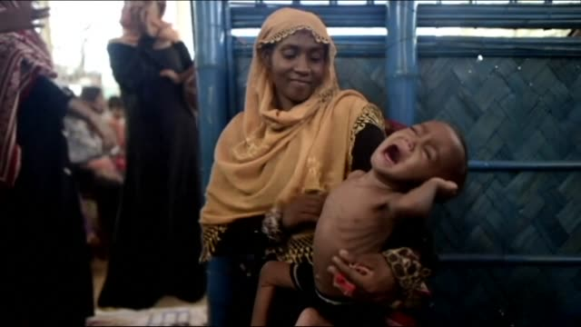 The UN says more than 14100 children are at risk of dying from malnutrition in wretched camps in Bangladesh where half a million mainly Rohingya...