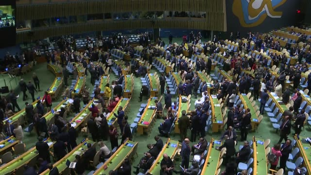 the un secretarygeneral antonio guterres addresses 74th session of un general assembly in new york united states on september 24 2019 - united nations stock-videos und b-roll-filmmaterial