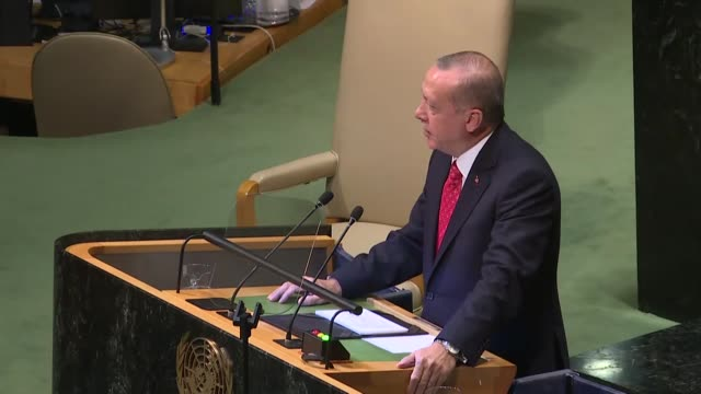 the un security council currently serves the interests of five permanent members holding veto rights, turkish president recep tayyip erdogan said... - united nations general assembly stock videos & royalty-free footage