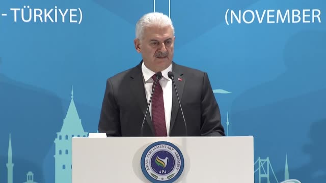 the un should step up its counterterrorism role turkish prime minister binali yildirim said wednesday in a speech to the asian parliamentary assembly... - binali yildirim stock-videos und b-roll-filmmaterial