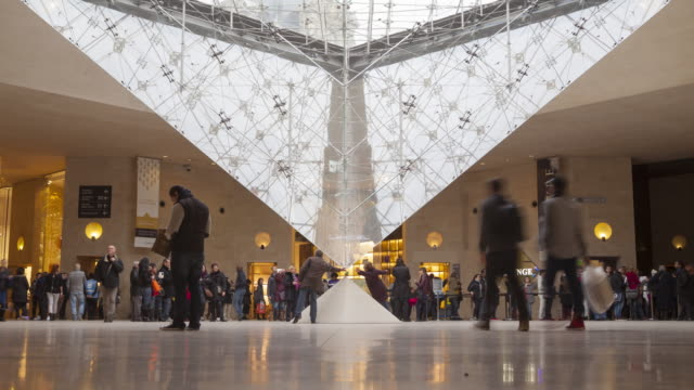 the underground entrance to the louvre museum in paris, france. - museum stock videos & royalty-free footage