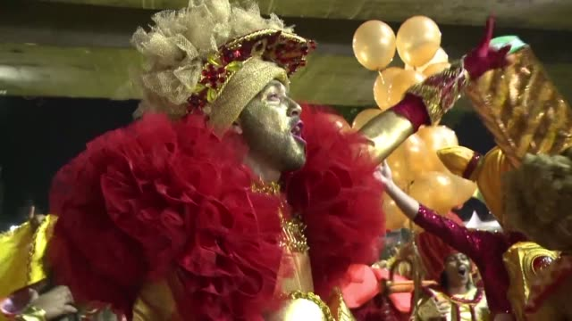 the uniao da ilha samba school parades at the rio carnival with an olympic theme celebrating the summer games that will take place in the city in... - samba school stock videos and b-roll footage