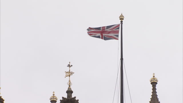 The Union Jack flies high over Victoria Tower. Available in HD.