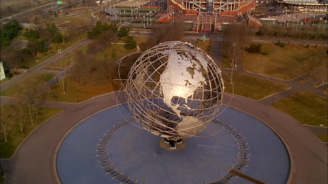 the unisphere resides in flushing meadows-corona park in queens, new york. - flushing meadows corona park stock videos and b-roll footage