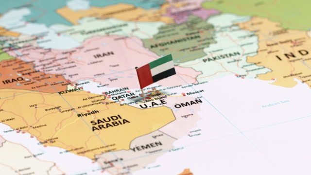 the united arab emirates with national flag - basra stock videos & royalty-free footage