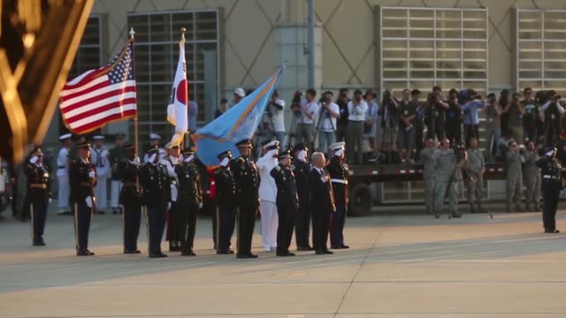 the united nations command conduct a ceremony at osan air base republic of korea in honor of repatriated remains believed to be those of us service... - 礼拝点の映像素材/bロール