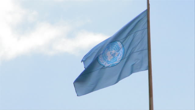 the united nations flag waves in the breeze. - united nations stock videos & royalty-free footage