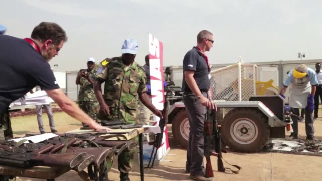 the united nations mission to south sudan has destroyed a batch of confiscated firearms and other weapons seized from internally displaced persons... - other stock videos and b-roll footage