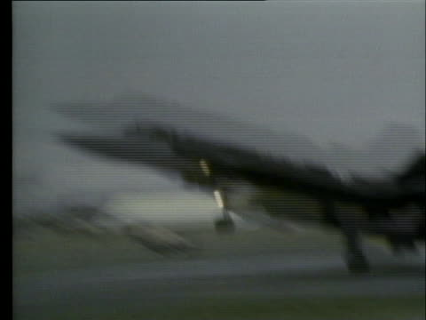 the united states air force reconnaissance spy plane sr-71 lands in farnborough, england after a record breaking transatlantic flight. - 1974 stock videos & royalty-free footage
