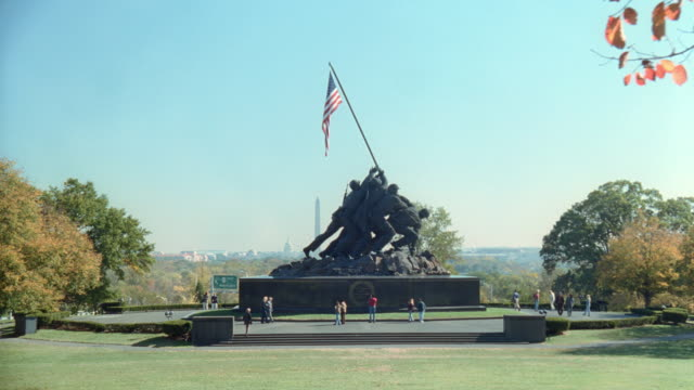 the united states marine corps war memorial stands in washington, dc. - arlington virginia stock videos & royalty-free footage