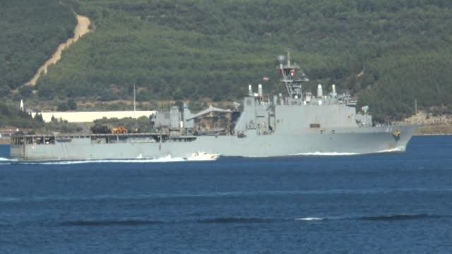 The United States Navy dock landing ship USS Whidbey Island passes through the Dardanelles Strait Canakkale Turkey on July 21 2016